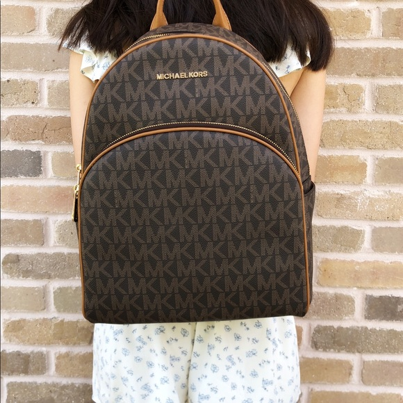 f95c2045c338 Michael Kors Bags | Abbey Large Backpack Brown Mk Acorn | Poshmark